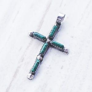 Vintage Malachite Cross Pendant, Dainty Cross